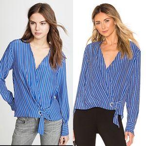 Rag & Bone Blue white stripes Felix silk blouse S
